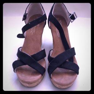 Toms Wedge Sandals Black size 8